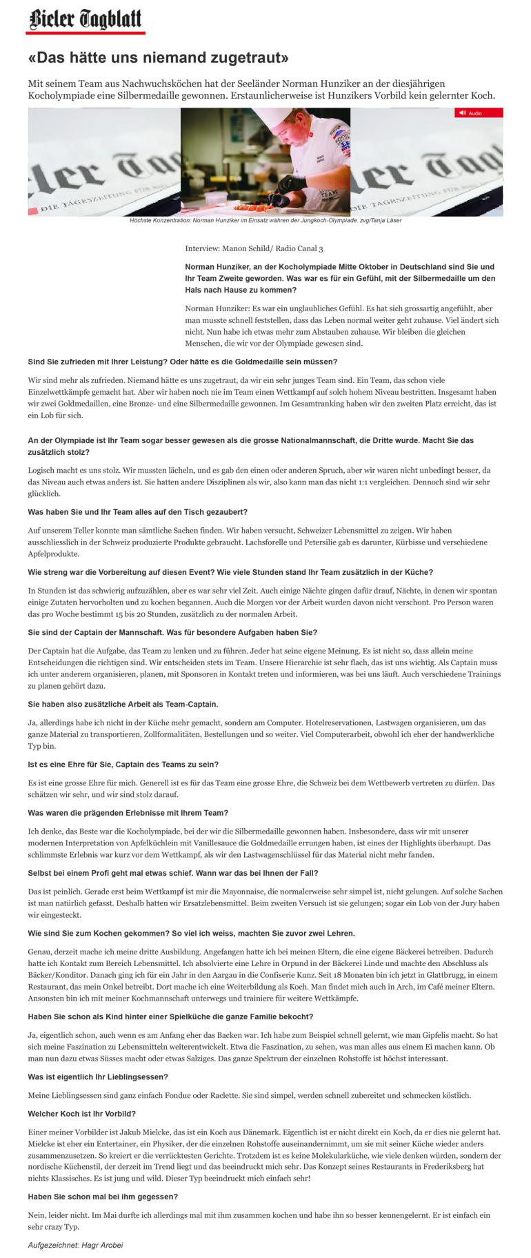 Olympiade - Artikel Bieler Tagblatt