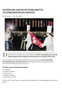 Olympiade Erfurt - Artikel Hotellerie Gastronomie Zeitung