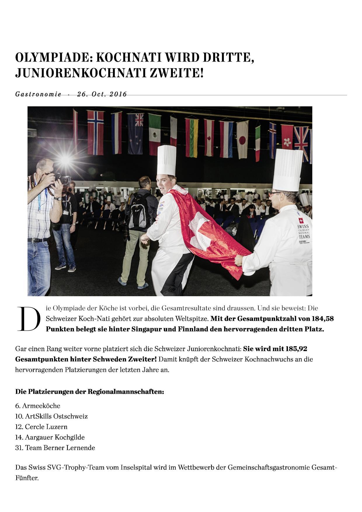 "Olympiade - Artikel ""Hotellerie Gastro Zeitung"""